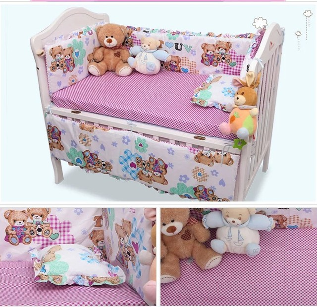 Hot 120*64CM Baby Bedding Sets Include Pillow Bumpers Mattress,Mickey Cartoon Baby Cot Bedclothes Decoration,6pcs In 1 Set