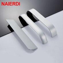 NAIERDI Kitchen Cabinet Knobs Handles Zinc Alloy Modern Silver Furniture Handle for Drawer Pulls Hardware 96mm/128mm