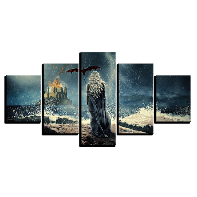 Modern Canvas Paintings Modular Wall Art Framework 5 Pieces Game Of Thrones Posters Living Room Home Decor HD Prints TV Pictures 3