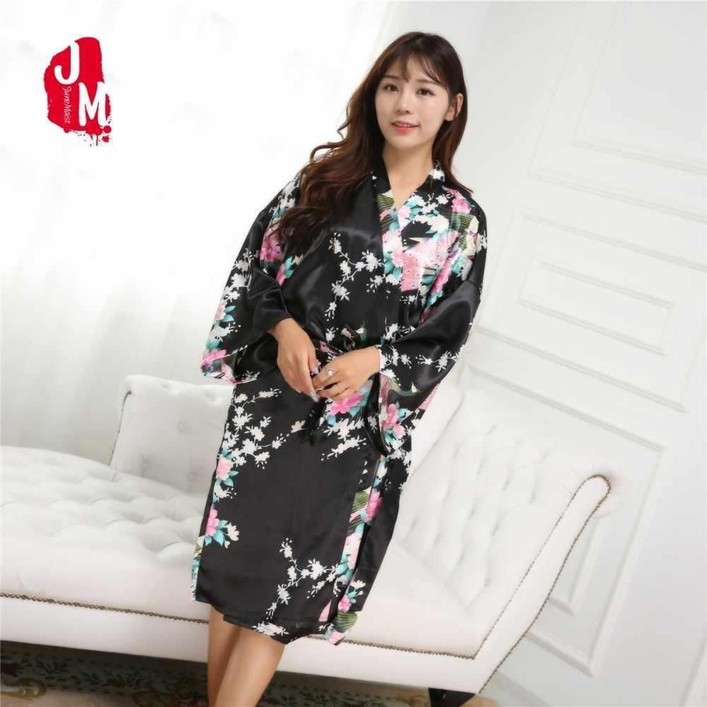 2018 Women Silk Robes Summer Satin Robes Wedding Bridesmaid Bride Kimono  Silk Robe Ladies Floral Bride 97818ef04