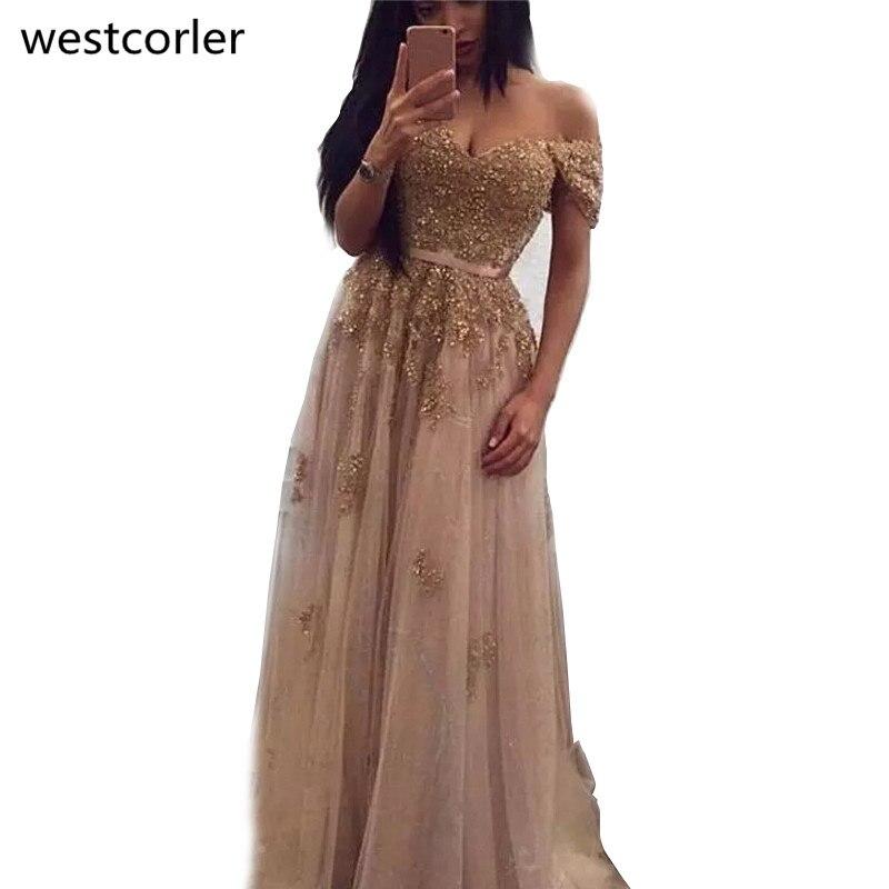Champagne dentelle perlée 2019 arabe robes de soirée hors de l'épaule a-ligne Tulle robes de bal Vintage formelle robes de soirée