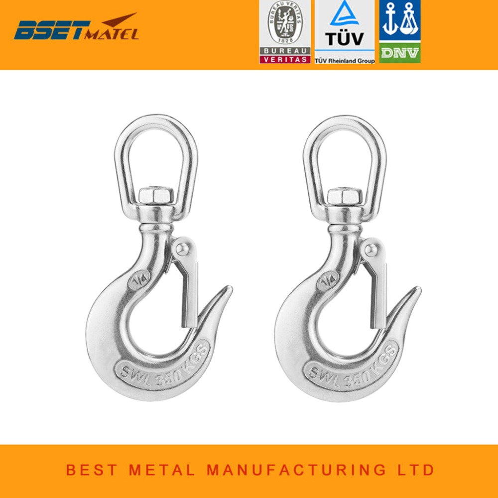 2X 304 Stainless Steel Round Swivel Eye Lifting Snap Hook cargo snap hook crane hook with Latch boat rigging hardware accessorie murphy m sling enr1x14 endless round sling purple x 14 synthetic rigging crane lifting belt