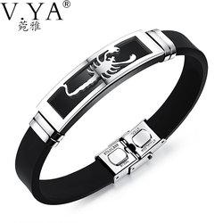 V ya 20cm pu leather bracelets individuality stainless steel scorpion bracelet for men male accessories jewelry.jpg 250x250