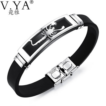 V ya 20cm pu leather bracelets individuality stainless steel scorpion bracelet for men male accessories jewelry.jpg 350x350