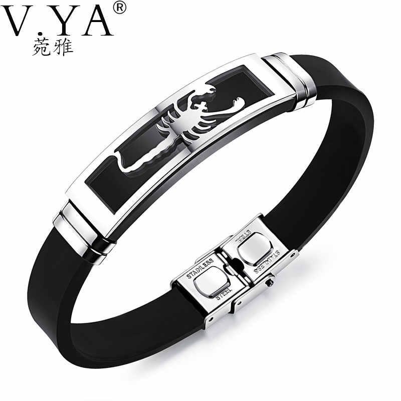 V. YA biżuteria silikonowa bransoletki dla mężczyzn wysokiej jakości indywidualność skorpion ze stali nierdzewnej męskie bransoletki akcesoria Jewelries