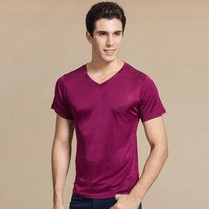 Image 2 - SuyaDream Männer grundlegende t shirt Natürliche Seide v ausschnitt Solide Kurzarm Shirts Weiß Schwarz Grau 2020 Frühling Sommer Top