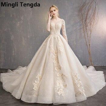 ef70df7e9c Mingli Tengda boda vestidos de encaje vestido de novia O vestido de novia  de cuello manga