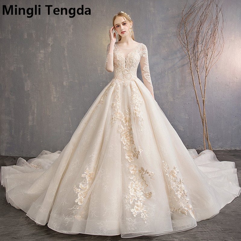 Mingli Tengda Champagne Wedding Dresses Lace Bride Dress O Neck Wedding Dress 3/4 Sleeve Colorful Flowers Bridal Gown Trouwjurk
