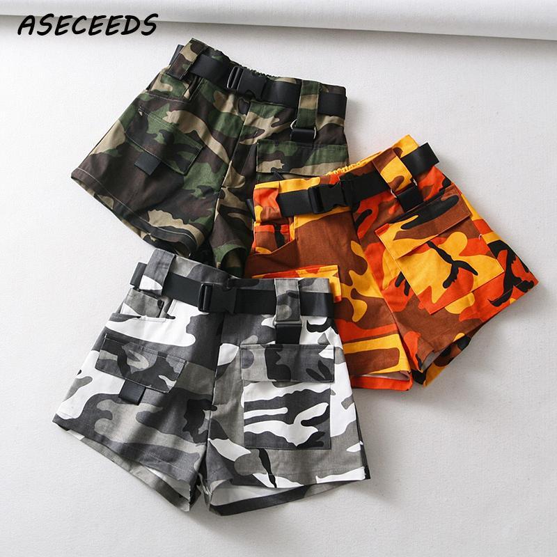 Summer Cotton High Waist Shorts For Women Fashion Belt Shorts Vintage Sexy Cargo Shorts Biker Pocket Shorts 2019 Korean Version