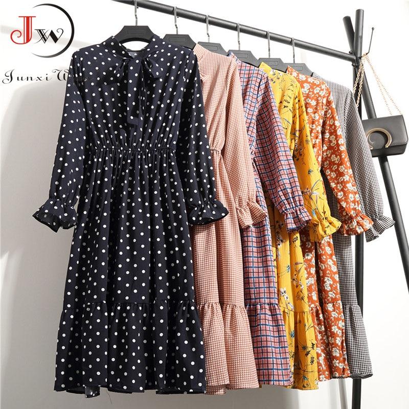 Outono chiffon camisa vestidos de manga longa polka dot xadrez escritório vestido vintage 2019 feminino verão casual midi vestido floral