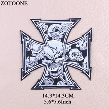 ZOTOONE Big Skull Patch Iron On Transfer Cross Punk Patches For Clothes Stickers Applique Embroidery Rock Cloth Patch Biker G genc riders turkiye custom motorcycle biker vest patch punk iron on embroidery patches free shipping