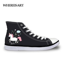 WHEREISART Spring Autumn Black High Top Canvas Shoes Teen Girls Cute Unicorn Womens Designer Sneakers Casual Woman Flat Shoes