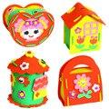 8 Pçs/lote Caixa do Tesouro DIY EVA 3D Crianças Adesivos Brinquedos Educativos Para Crianças Kit de Materiais Feitos À Mão Presente de Aniversário Para Os Meninos meninas