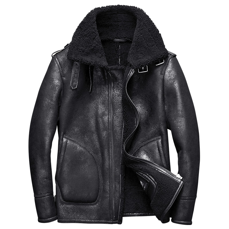 2017 new luxury men's genuine sheepskin leather shearing wool coat pilot bomber jacket for male winter clothing black xxl 30
