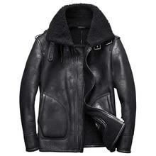 Новинка 2017 роскошные мужские из натуральной овечьей кожи режа шерстяное пальто пилот куртка-пилот для мужчин зимняя одежда xxl черный-30
