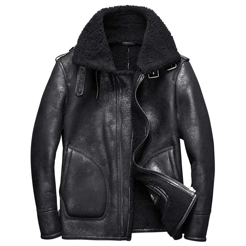 2017 nouveau luxe véritable pour homme en cuir de mouton cisaillement laine manteau pilote blouson pour homme vêtements d'hiver noir xxl -30