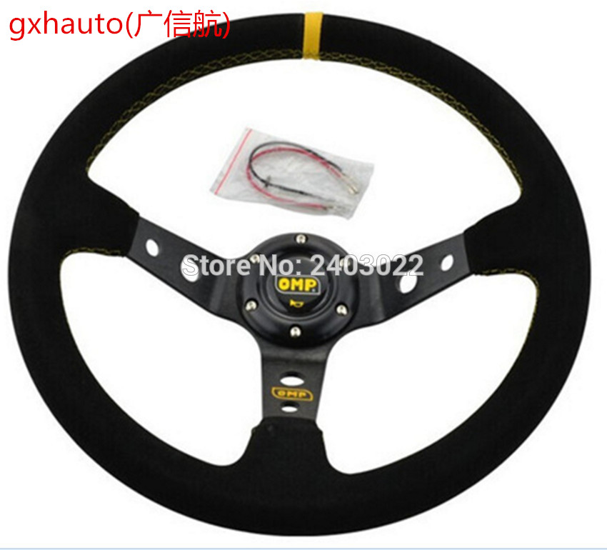 Unversal 14inch 350mm Deep Corn Drifting OMP Steering Wheel racing sport Steering Wheel CoverUnversal 14inch 350mm Deep Corn Drifting OMP Steering Wheel racing sport Steering Wheel Cover