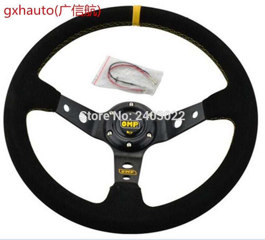 цена на Unversal 14inch 350mm Deep Corn Drifting OMP Steering Wheel racing sport Steering Wheel Cover