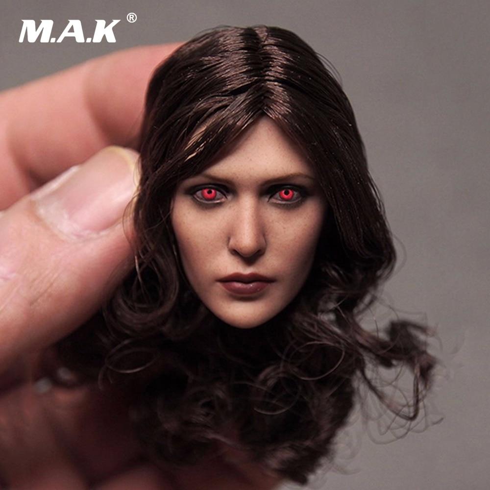 Em Venda Custom 1/6 Fêmea Cabeça Sculpt Elizabeth Olsen Feiticeira Escarlate Vermelho Olhos Ver Cabeça Escultura para 12