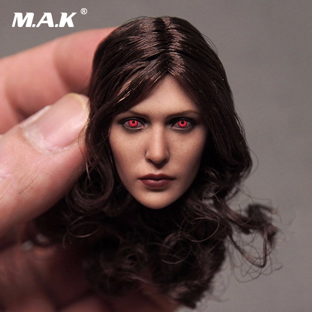 On Sale Custom 1/6 Female Head Sculpt Elizabeth Olsen Scarlet Witch Red Eyes Ver Head Carving for 12 Action Figures AccessoriesOn Sale Custom 1/6 Female Head Sculpt Elizabeth Olsen Scarlet Witch Red Eyes Ver Head Carving for 12 Action Figures Accessories