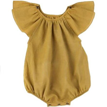 RECALLTIMES Pure Color Lotus Leaf Collar Brief Infant Climb