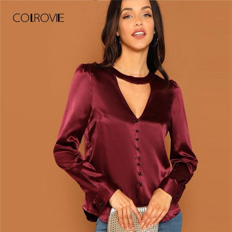 COLROVIE Choker V-Neck Keyhole Back Button Vintage Stain   Blouse     Shirt   2018 Autumn Elegant Korean Office Womens Tops And   Blouses