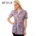 BFDADI Brand Women Floral Shirts Women Casual Bronzing Elasticity Net yarn fabric Shirt Ladies Blouse Women Plus size Tops 3216