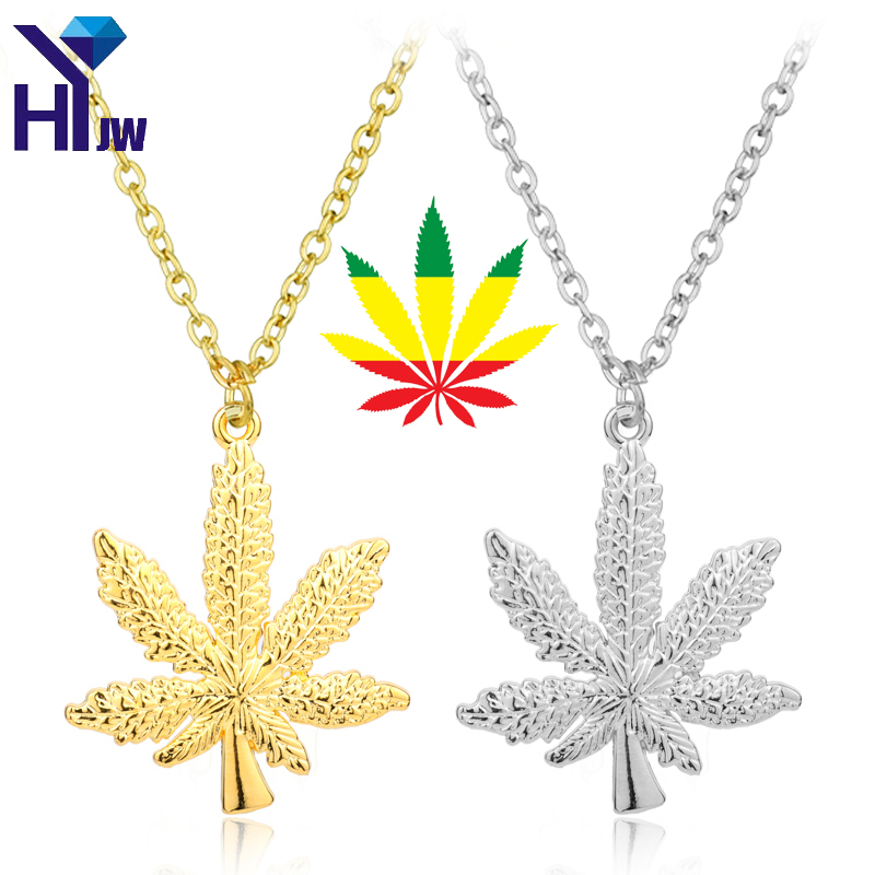 HEYu Gold Silver Plated <font><b>Cannabiss</b></font> Herb Charm Necklace Hemp Leaf Pendant Necklace Hip Hop Jewelry image