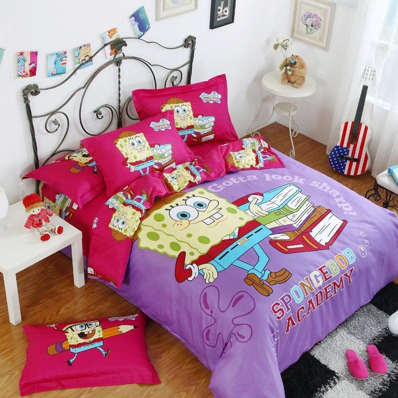 100 Cotton Cartoon Spongebob Bedding Sets Bed Set Linen Cotton Queen Size Bedclothes Duvet