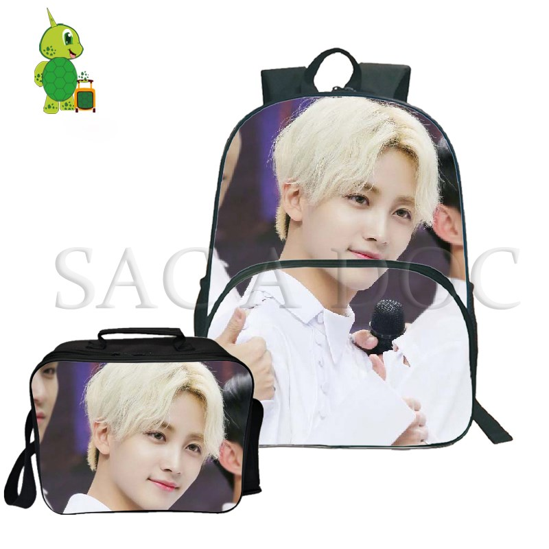 2pcs/sets Seventeen Kpop Backpack Idol Jun/hoshi Laptop Backpack For Teenage Boys Girls Fashion Travel Rucksack With Cooler Bag Luggage & Bags