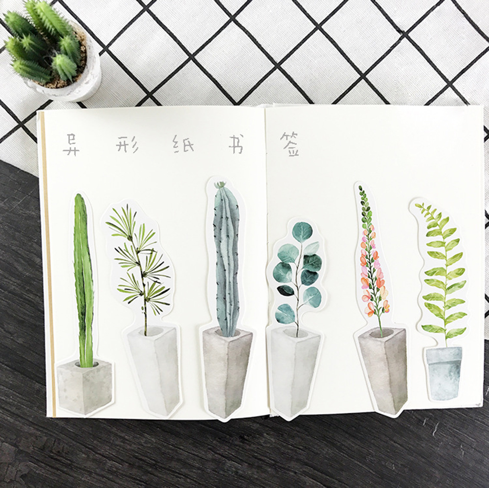 30Pcs/lot Potted Plants Gift Bookmarks Marker Stationery Gift Realistic Kawaii Cartoon Bookmarks Office School Supply