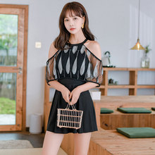 Women One Pieces Backless Swimsuit Dress Swimwear Solid Hot Spring Bathing Suit