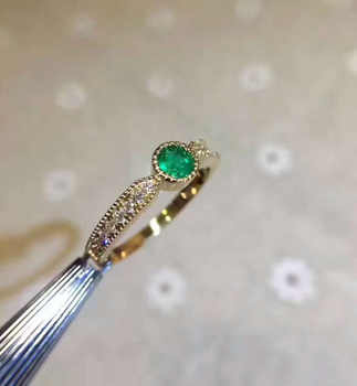 Natural green emerald gem Ring Natural gemstone Ring S925 sterling silver Fashion elegant Exquisite round women party Jewelry