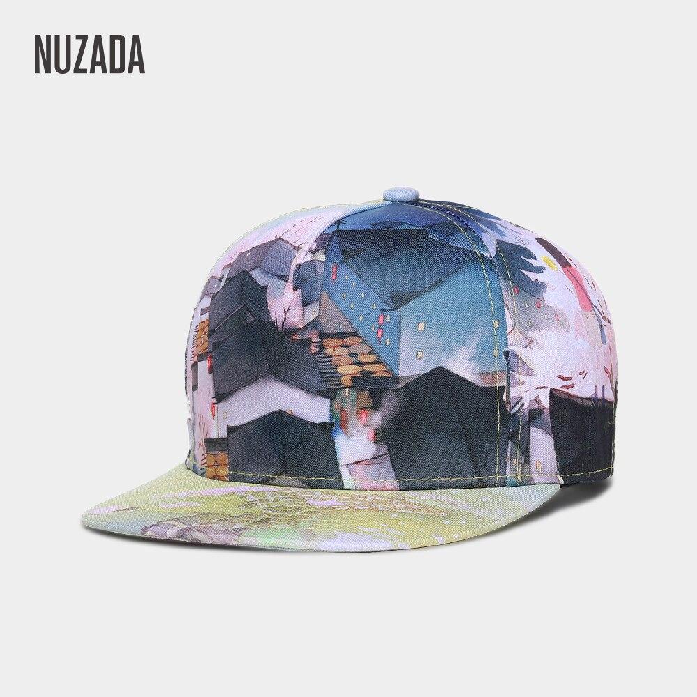 NUZADA Unisex Men Women Hip Hop Cap Exclusive Original Brand Quality HD 3D Printing Landscape Couple Caps Spring Summer