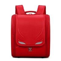 Дети Черный рюкзак для мальчика рюкзак для детей школьная сумка ортопедический рюкзак Японская книга сумки PU малыш рюкзаки световой