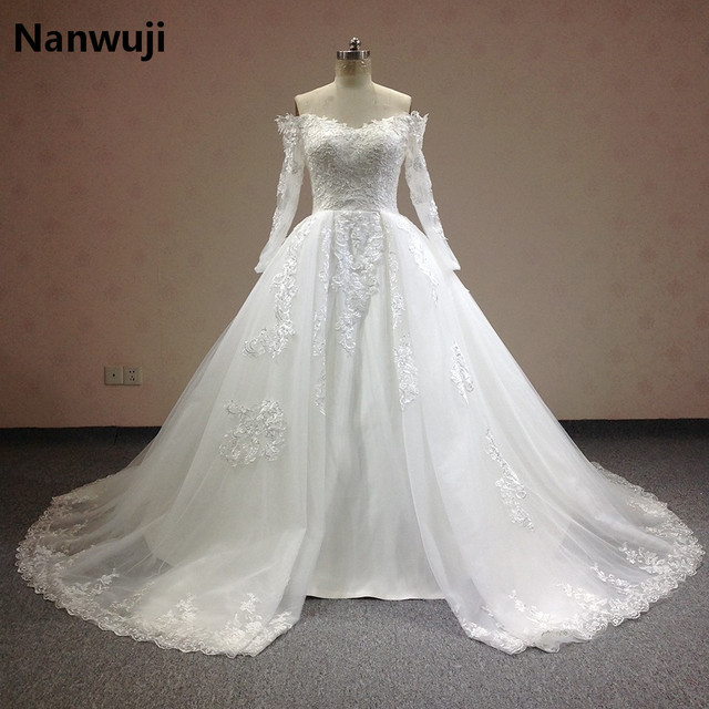 8cedb44e881 Luxury 2016 Lace Ball Gown Wedding Dresses Boat Neck Long Sleeve Detachable  Skirt Plus Size Princess Bridal Gowns Best Quality