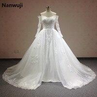 Luxury 2016 Ren Bóng Gown Wedding Dresses Thuyền Cổ Dài Tay Áo Có Thể Tháo Rời Váy Cộng Với Kích Thước Chúa Bridal Gowns Chất Lượng Tốt Nhất