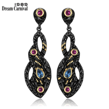 DreamCarnival1989 Vintage Style Black Gold-color Jewelry Blue Red CZ Bezel Anniversary Gift Big Drop Infinity Earrings ZE52770