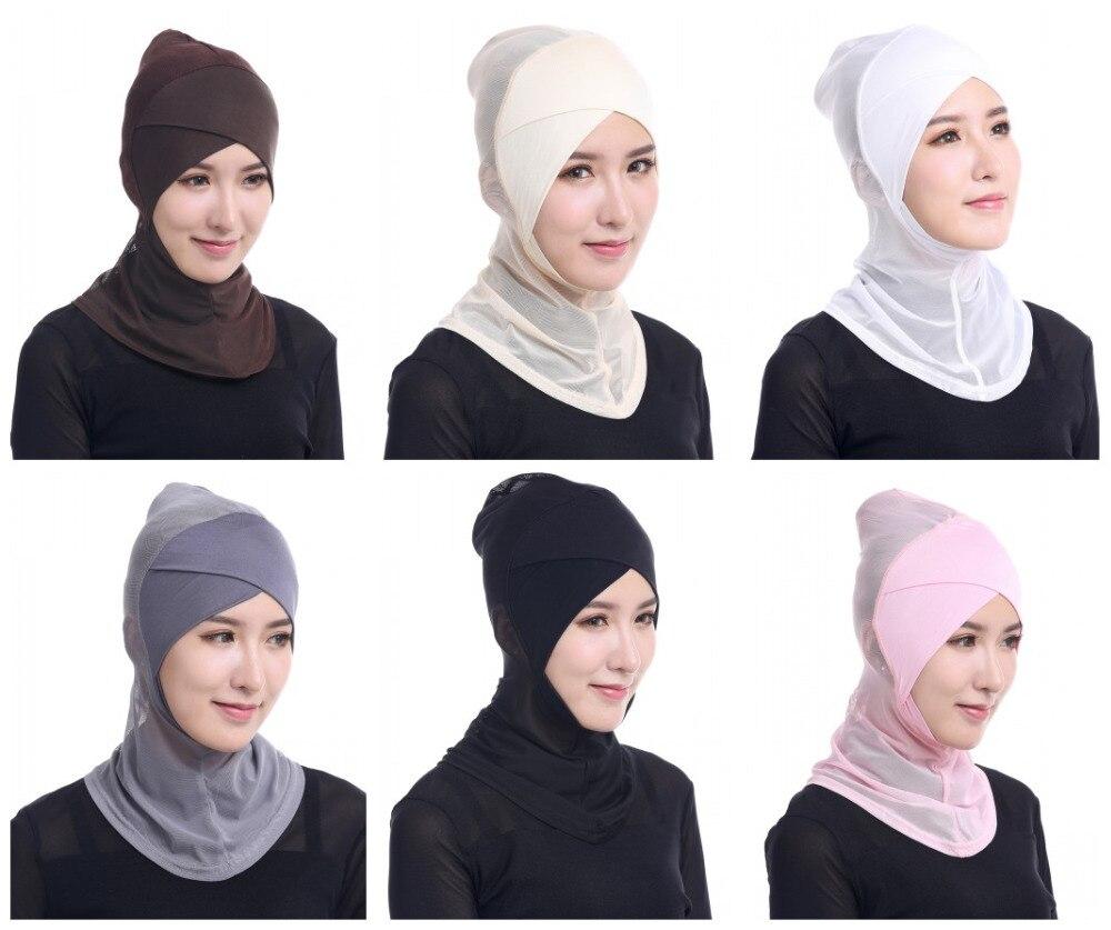New Muslim Solid Color Net Yarn Caps Hijab Islamic Hat Scarf Arab Headwear Hats For Women beanie