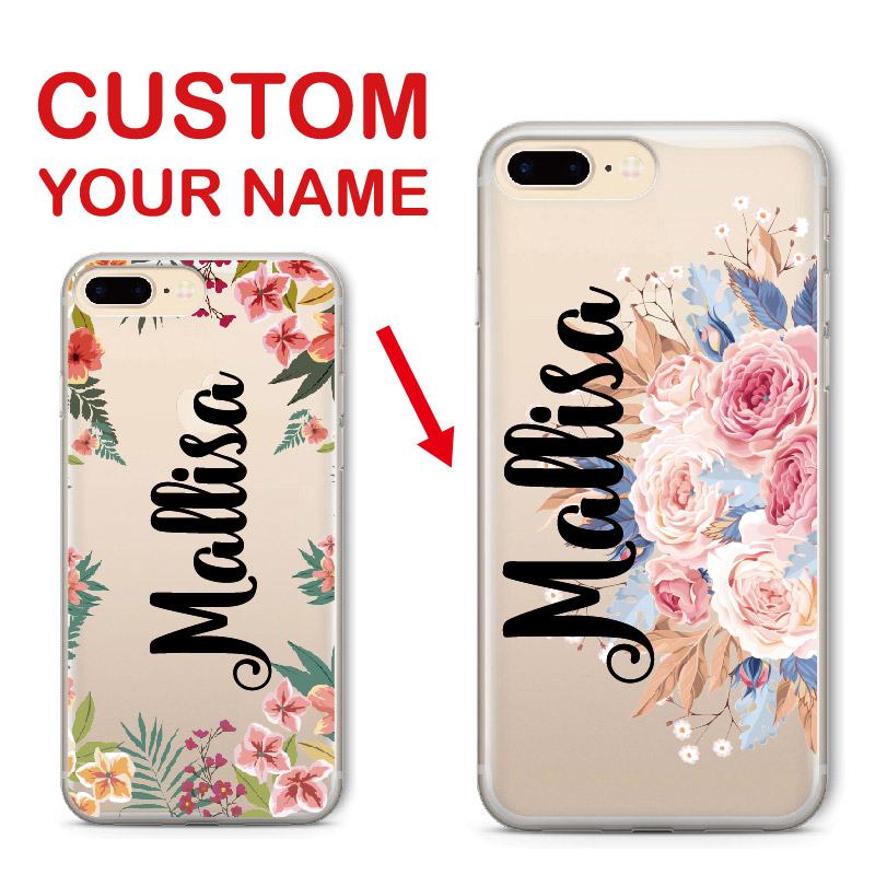Floral Vintage Personalized Custom Name Text Soft Clear Phone Case For iPhone 6 6S XS Max 7
