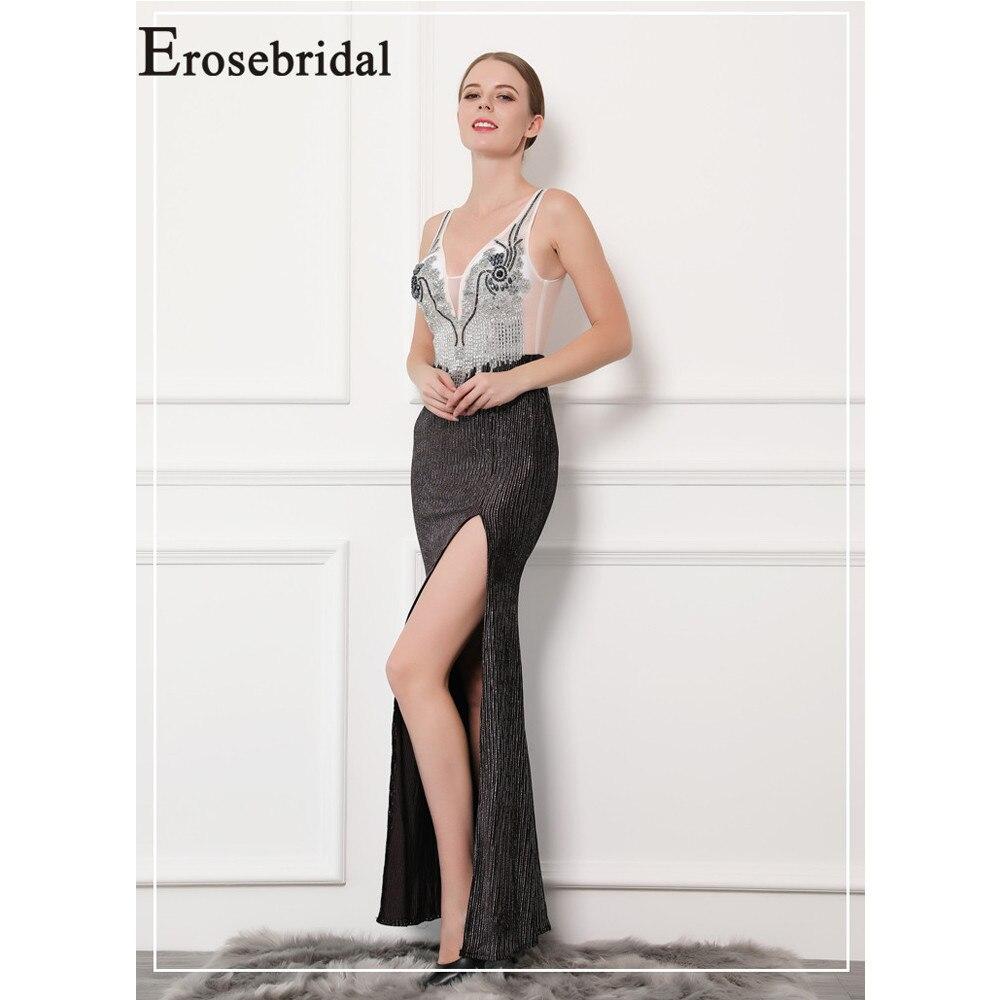 Erosebridal nouveauté V-cou robes De bal 2019 Sirène robes De bal Sexy Noir Femmes robe De soirée formelle Longue Robe De Gala