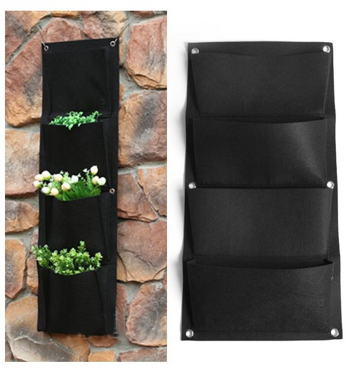 4 Pockets Black Indoor Outdoor Hanging Planter Bag Wall Mounted Plant Vertical Garden Decor Pocketgarden In Flower Pots Planters From Home On