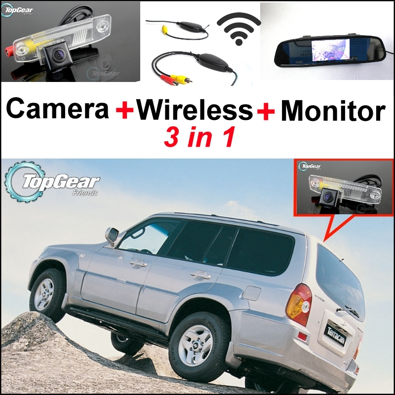 3 in1 Special Rear View Camera + Wireless Receiver + Mirror Monitor Easy DIY Backup Parking System For Hyundai Terracan 3 in1 special rear view camera wireless receiver mirror monitor easy diy backup parking system for jeep liberty 2002 2007