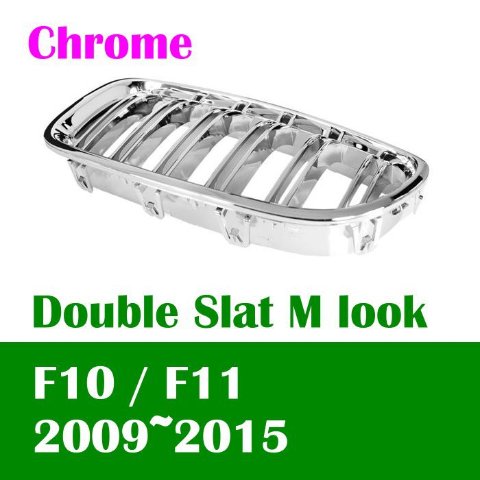DASH Chrome Double Slat M look front kidney grille for BMW 2011 2014 F10 F11 5