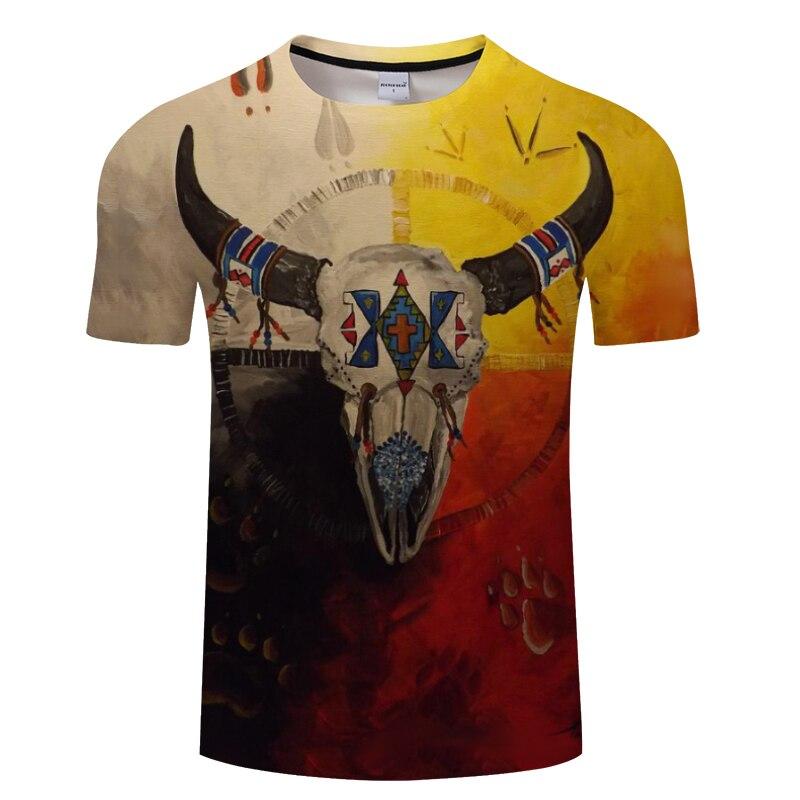 Horse&Cow&Native&Wolf With Music 3D Men T Shirt ShortSleeve Tshirt 3D Skull T-shirt Summer Vintage Loose Tops Thin Tees Dropship
