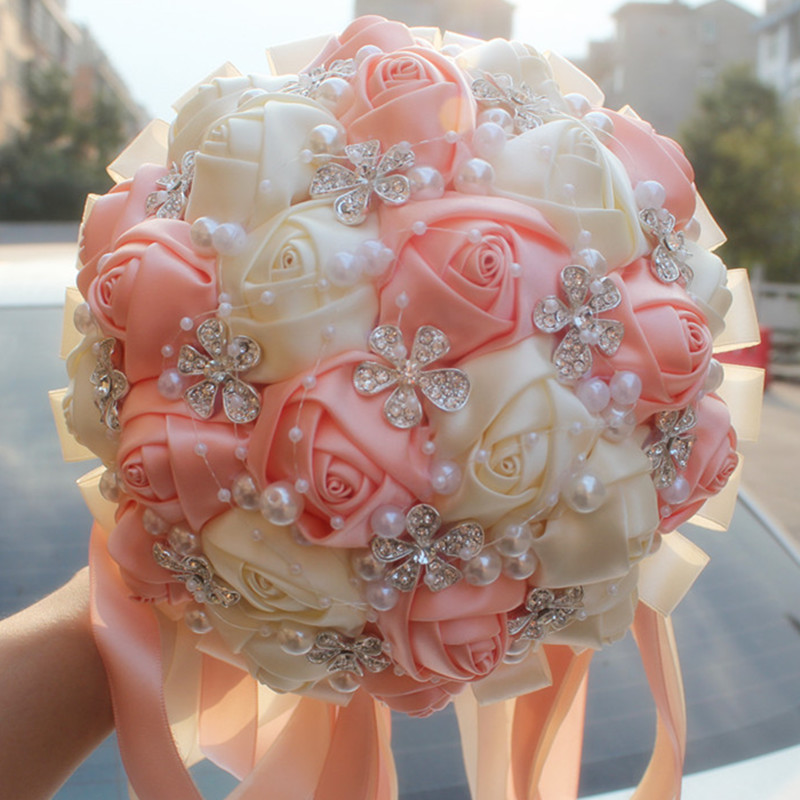 Coral And Pink Wedding Flowers: Coral Pink Ivory Champagne Satin Rose Festival Stitch