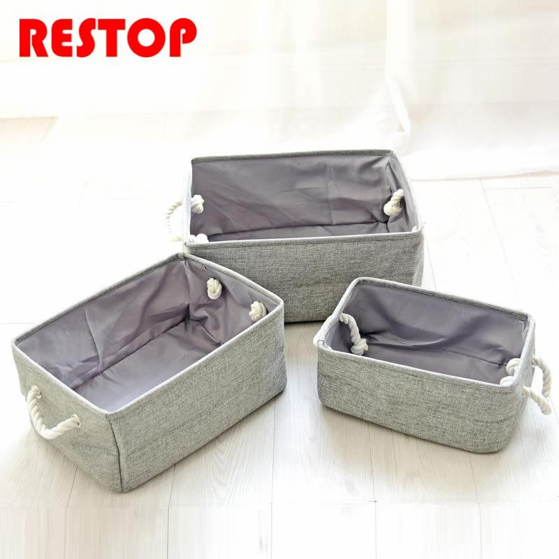 Plain colour Linen 3 piece suit Waterproof Square Laundry Basket Washing Clothes Storage Bag Basket Organizador Toy Bag RES592