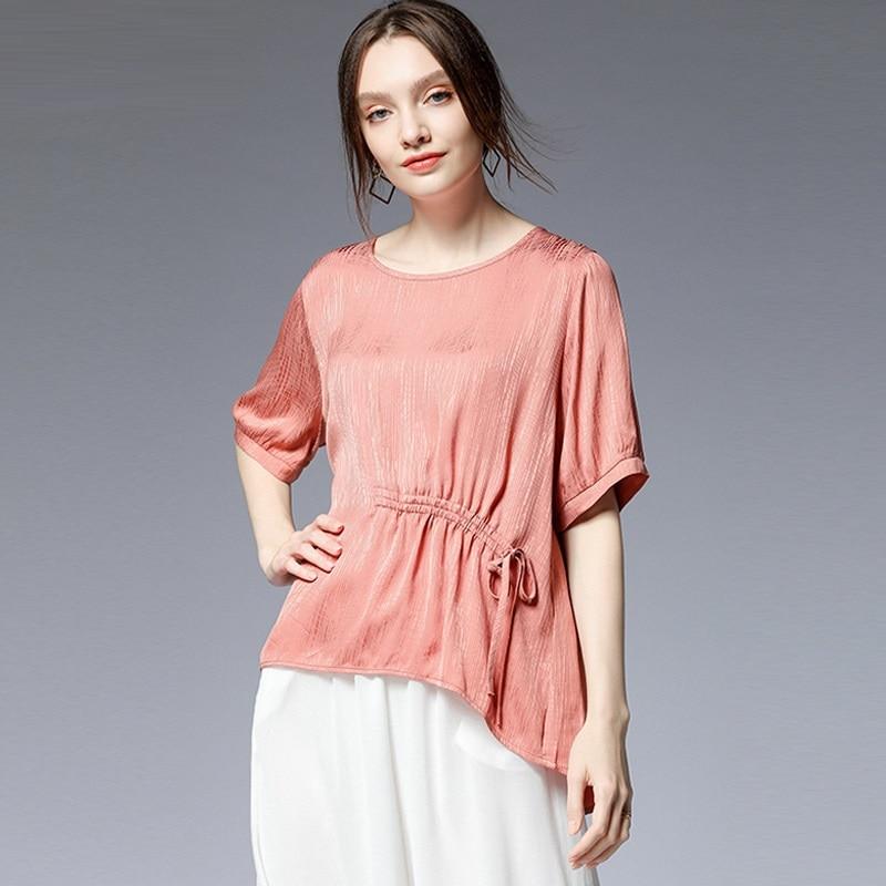 Été décontracté lâche demi manches 4XL blouses femmes grande taille cordon asymétrique Cupro soie blouses chemises montre de sport grande taille