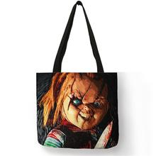Customized Horror Movie Chucky Print Tote Bag Women Men Fabric Handbags Linen Shopping Bags with Customized Pattern Dropshipping