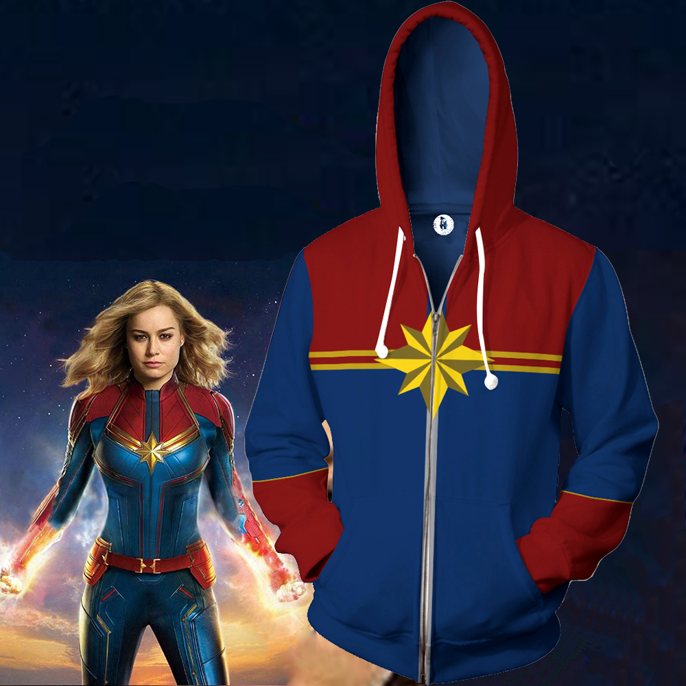 us $22.98 16% off|women men captain marvel hoodie cosplay captain marvel  carol jackets hooded zipper sweatshirts pullover coats tops-in hoodies &